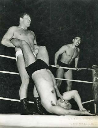 Vic Faulkner at Nottingham with Japanese tag team