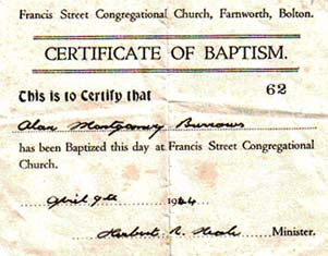 Alan Burrows Baptismal Certificate