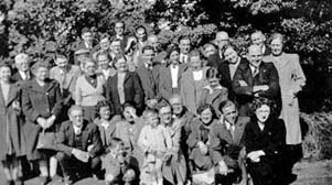 The Church Men's Class outing to Pilling and Fleetwood, 1949: The Rev E.J. Howells is kneeling (centre, front row)