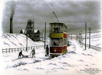 Deane (Winter 1940). Victoria Colliery (Three Pigeons) with Snowbound Tram