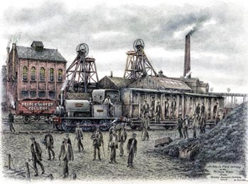 Ashton Field Colliery with Miners Train from Mosley Common Colliery 1920's